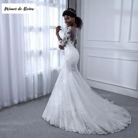Vestido De Noiva Sereia Rendado Com Transparência Calda