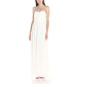 Vestido Strapless Blanco Largo Fiesta Bridesmaid