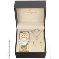 Relógio Champion Feminino Cn27349w - Kit Colar E Brincos
