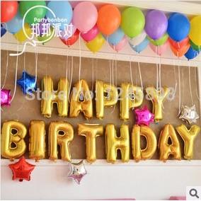 Happy Birthday Globos Metalizados Dorado Bomba 15932 *