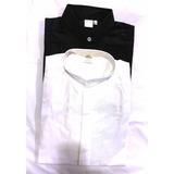 Camisa Cuello Mao Blanca Negra Mozo Camarero Salon