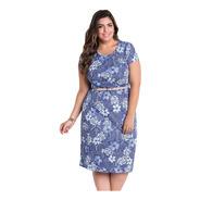Vestido Plus Size Midi Moda Evangélica Azul Florido Festa