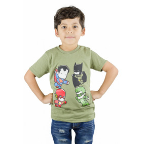 Franela Niño Momo Kids Verde Super Heroes Detal Mayor