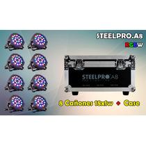 Mayoreo Steelpro 8 Cañónes Par 64 Led Rgbw, 18x1w, Dmx512.