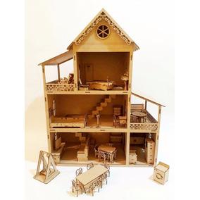 Casa Casinha De Bonecas Polly +36 Móveis 60cm Mdf Cru