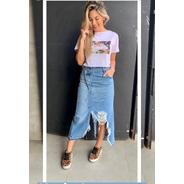 Saia Midi Jeans Destroyed Super Fashion