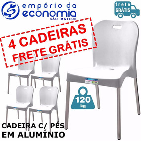 4 Cadeiras Plástica Polipropileno Alumínio Paramount A Vista
