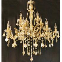 Lustre Candelabro De Cristal K9 12 Braços Luminária Sala