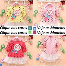 Vestido Pirulito Bolinha Manga Longa Infantil Pronta Entrega