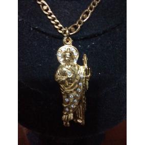 Dije De San Judas Tadeo Con Collar Chapa De Oro Fino 18k