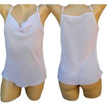 Kit C/10 Blusa Feminina Camisa Blusinhas Chiffon Alça Fina