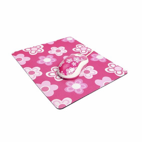 Kit Mouse Com Mouse Pad Kolke Kmp-100 Rosa/branco Flores