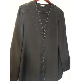 Camisa Blusa Negra Manga Larga Mujer Talle 5 Amplia Bordaba