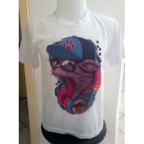 Camiseta Masculina Cat Fones Cap Hip Hop