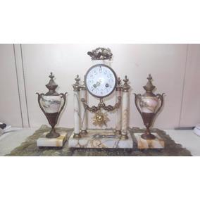 Relógio C/ Candelabros Francês Em Mármore Antigo
