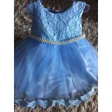 Vestido Infantil Bebê Festa 1 Aninho Aniversário Azul Tule