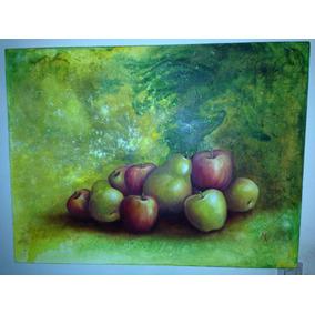 Arte Pintura Original Peras Y Manzanas Oferta Esp. $495-$300