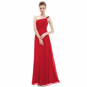 Oferta !! Elegante Vestido Color Rojo A Un Hombro!