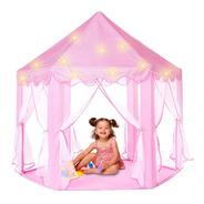 Castelo Cabana Barraca Portátil Infantil Rosa Menina Com Led