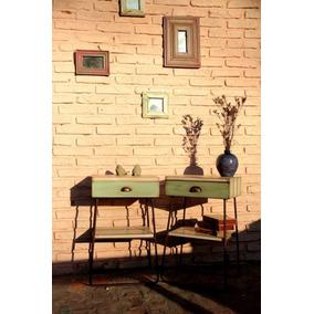 Mesa De Luz Madera Y Hierro