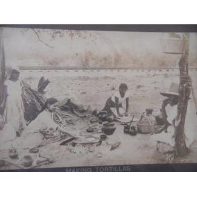 Antigua Fotografía Haciendo Tortillas Siglo 19, Albumina