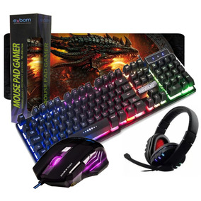 Kit Gamer Teclado Semi Mecânico Mouse 6d Headset Mpad Grande