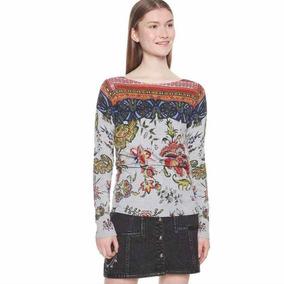 Sweater Desigual M Nuevo Gris Estampado Con Envío