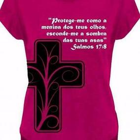 Camiseta Feminina Gospel Cristã Evangélica Salmo 17:8 Rosa