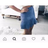 Saia Curta Azul Toque Aveludado Fashion Moderna Luxo