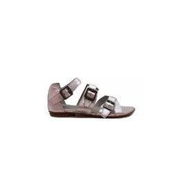 Natacha Zapato Mujer Sandalia Cuero Metal Plata #1604