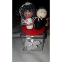 Lembrancinhas Casamento Noivinho Biscuit 50 Caixas Acrílicas