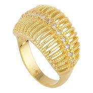 Anel Dourado Tipo Aramado Com Detalhes Pedra Tipo Zirconia