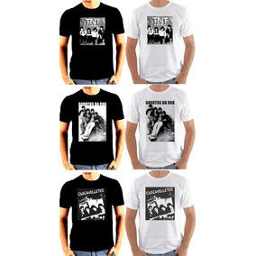 3 Camisetas Banda Rock Gaúcho Preta E Branca - Frete Grátis!