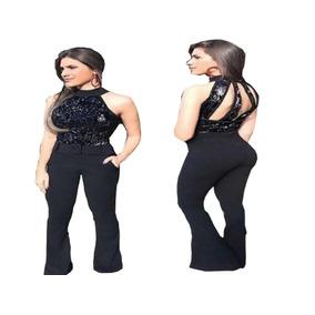 Macacão Longo Social Com Paetê Super Elegante Feminino