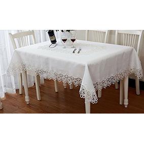 bordado blanco puro borde del mantel europea lace mesa d