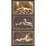 Fotos. Pre-1930. 3 Antiguas Fotos Estudio De Bebes Desnudos