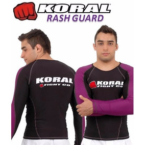 Rash Guard Koral Pro Competition Co Roxa Preta Manga Longa