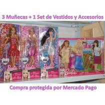 Barbie Fashionistas 3 Muñecas + 1 Set De Vestidos Accesorios