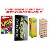 Combo Cartas Uno Mattel Original+rummy Q + Jenga *