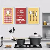Plaquinha Placa Quadro Mdf 20x30 Kit Cozinha Frase Faca Chef