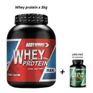 Whey Protein 3 Kg ( Proteína Pura ) + Lipo Five 60 Comprimidos. Body Advance