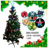 Árbol Navidad 1.80 Cm + Luces + Accesorios Decorativos