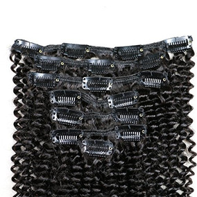 12inch Kinky Curly Clip In Human Hair Extensions Brazilian V