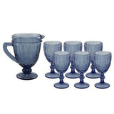 Set De Jarra Y 6 Copas Azules De Vidrio Labradas