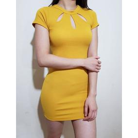 Vestido Corto Manga Corta Escote Entallado Elastizado