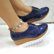 Zapatos Para Dama Oxford Charol Azul Rey Calzado Moda Mujer