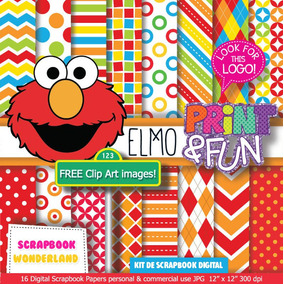 Kit Imprimible Elmo Plaza Sesamo Fondos + Cliparts