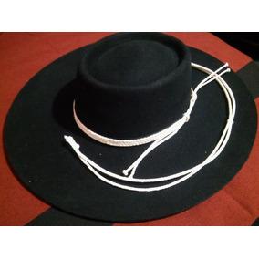 Sombrero De Paño, Gaucho Redondo, Con Toquilla Y Barbijo