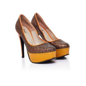 Zapatos De Fiesta Sofi Martire De Mujer Gliter Marron Star