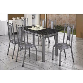 Conjunto Mesa Jantar Cozinha 6 Cadeiras Grecia - Metalmix